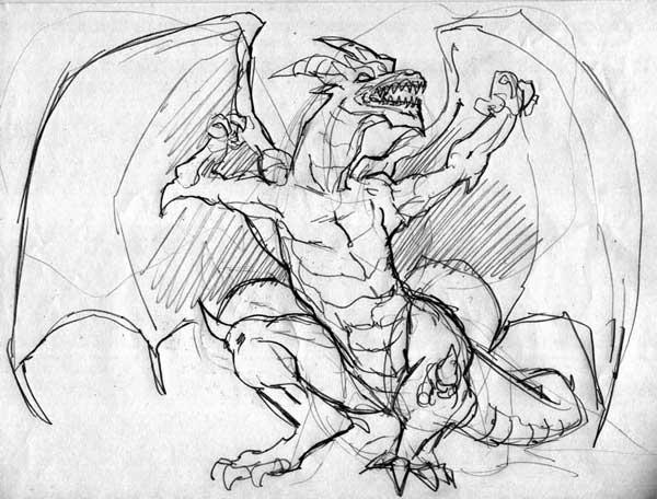 Primo bozzetto del drago Majestos