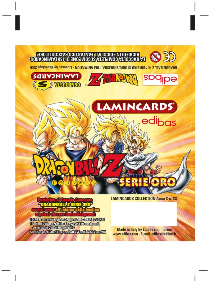 flow pack Lamincards Dragonball Z serie oro